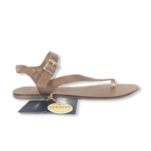 FOREVER 21 | Leather Flat Sandals - Tan - NWT